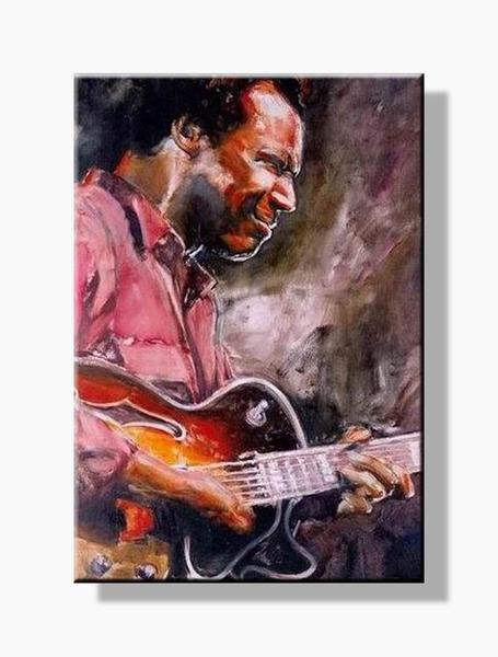 Gitarist schilderij | Muziek olieverfschilderij