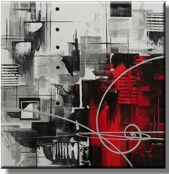 Abstract olieverfschilderij met zwart rood grijs