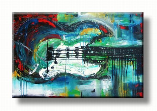 gitaar schilderij abstract geschilderd