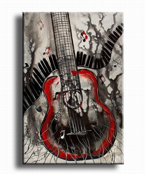 Gitaren en piano muziek schilderij zwart rood