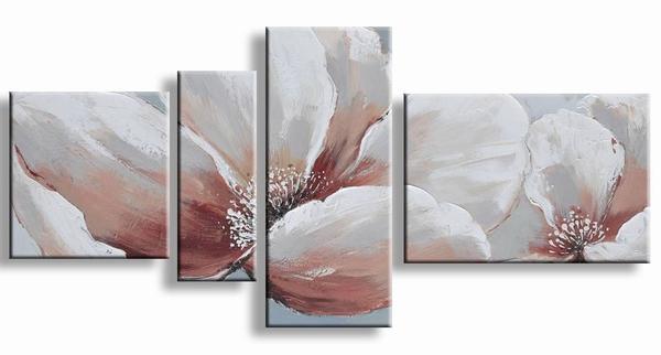 Bloemen schilderij natuur pracht in aardetint bruin