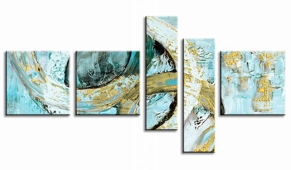 Abstracte&moderne schilderijen | 5luik speelse circels