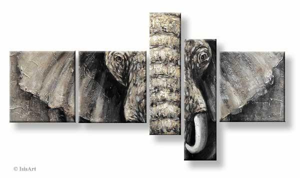 Modern vijfluik schilderij olifant afrika geschilderd