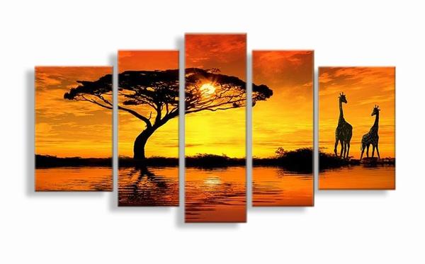 """""""A Giraffen schilderij er is liefde"""