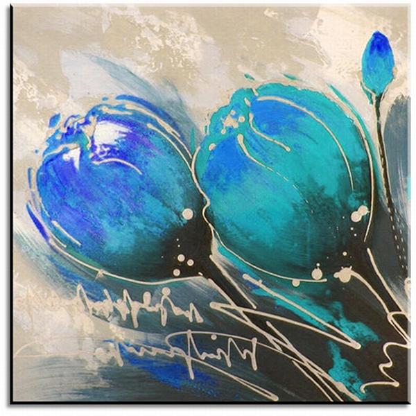 blauw turquoise tulpen schilderij