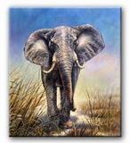 Schilderij Olifant in gijs-blauw | olifanten schilderijen
