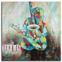 Saxofoon schilderkunst muziek, muziekinstrumenten schilderij