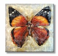 "A Butterfly"" - vlinder schilderij - oranje rood zwart bruin"