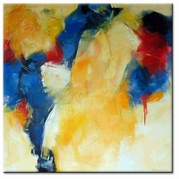abstract modern schilderij oker blauw en rood