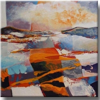 abstract kunst schilderij met oranje - Wave off Time II