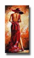 vrouwenschilderij van een mooie vrouw in 't rood