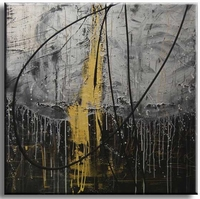 Vierkant abstract schilderij  met zwart grijs en goud