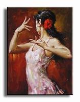 Schilderij flamingo met spaanse danseres
