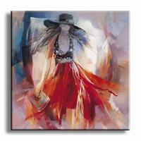 Schilderij modern gekleedde vrouw met rode jurk