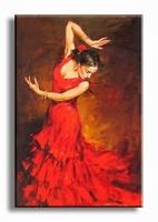 Vrouw danseres schilderij in rood