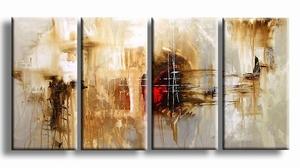 Abstracte kunst schilderijen - Schilderij bruin 'n rood