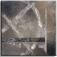 Exclusief abstract schilderij warm grijs taupe zwart en wit