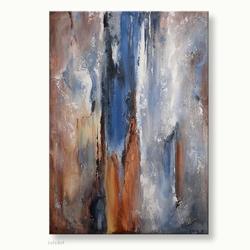 abstract kunst schilderij bruin blauw wit