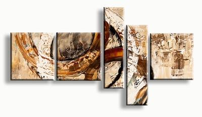 Abstract schilderij circels in naturel aardetinten bruin