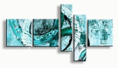 Turquoise blauw groen schilderij circels abstract
