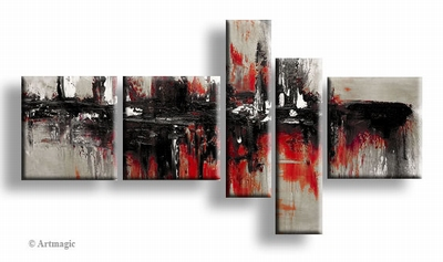 Rood zwart grijs wit abstract schilderij | The Look