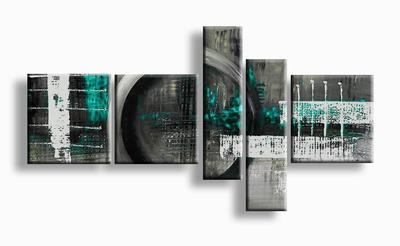 Geschilderd abstract schilderij warm grijs turquoise