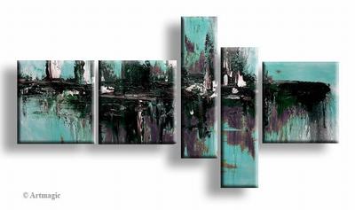 Modern schilderij turquoise paars zwart en wit in abstract