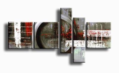 Schilderij warm grijs en rood abstracte schilderijen