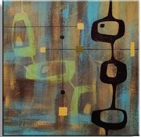 Abstract schilderij vierkant bruin turquoise | Happy