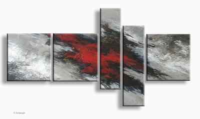 Rode Aarde | abstract schilderij met rood en grijs
