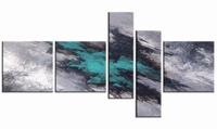Turquoise aarde | abstract vijfluik schilderij