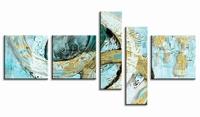Abstracte&moderne schilderijen   5luik speelse circels