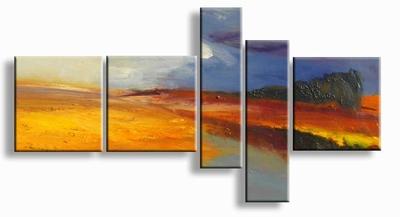 modern landschap schilderij abstract | Op de Akkers