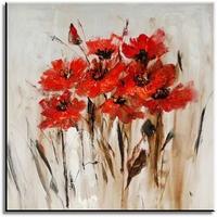 Modern bloemen schilderij met rood en bruin