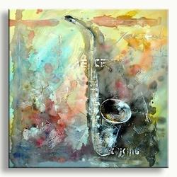 Moderne muzikale schilderkunst saxofoon schilderij