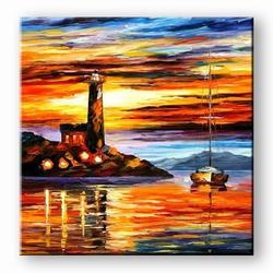 Moderne schilderijen kunstschilderij zeilboot en vuurtoren