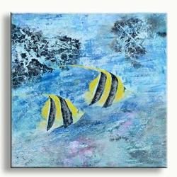 Modern schilderij met vissen blubbbbb