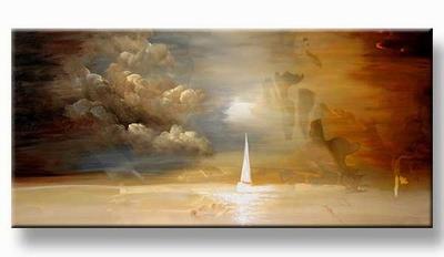 Modern art painting schilderij zeilboten op zee bruin tinten