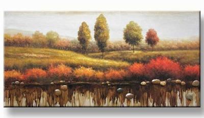 Modern natuur schilderij bomen aan het water