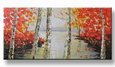 Modern schilderij met bomen rood - art painting