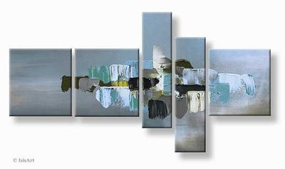 Modern vijfluik schilderij city in the clouds abstract