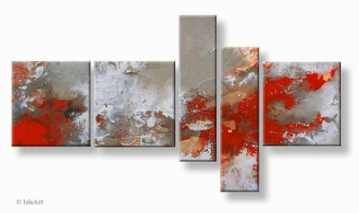 Modern vijfluik schilderij in abstracte stijl rood