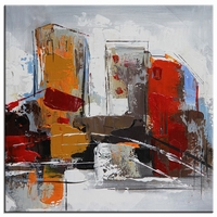Abstract schilderij vrolijke stad vierkant