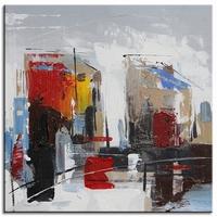 Abstract schilderij vrolijke stad vierkant II