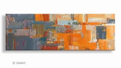happy - kunstschilderij met oranje en grijs tinten