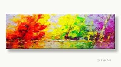 uitzicht op het ven - liggend kunst schilderij