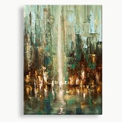 abstract kunst schilderij groen aqua bruin