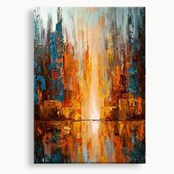 abstract kunst schilderij oranje rood blauw geel