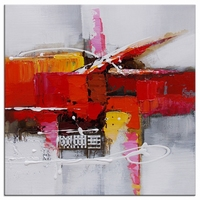 abstract schilderij vierkant rood