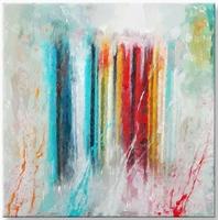 abstract schilderij vierkant blauw turquoise rood geel